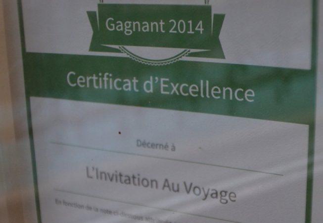 Prix d'excellence Tripadvisor depuis 2012