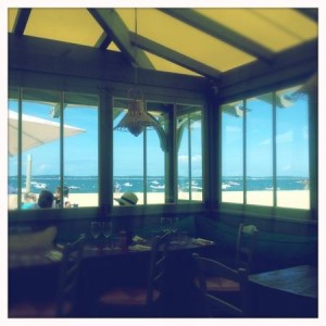 Vue depuis le restaurant d'été : club plage pereire à Arcachon. Bassin d'arcachon